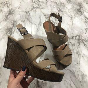 INDIGO RD. Tan Strappy Wedge Sandals